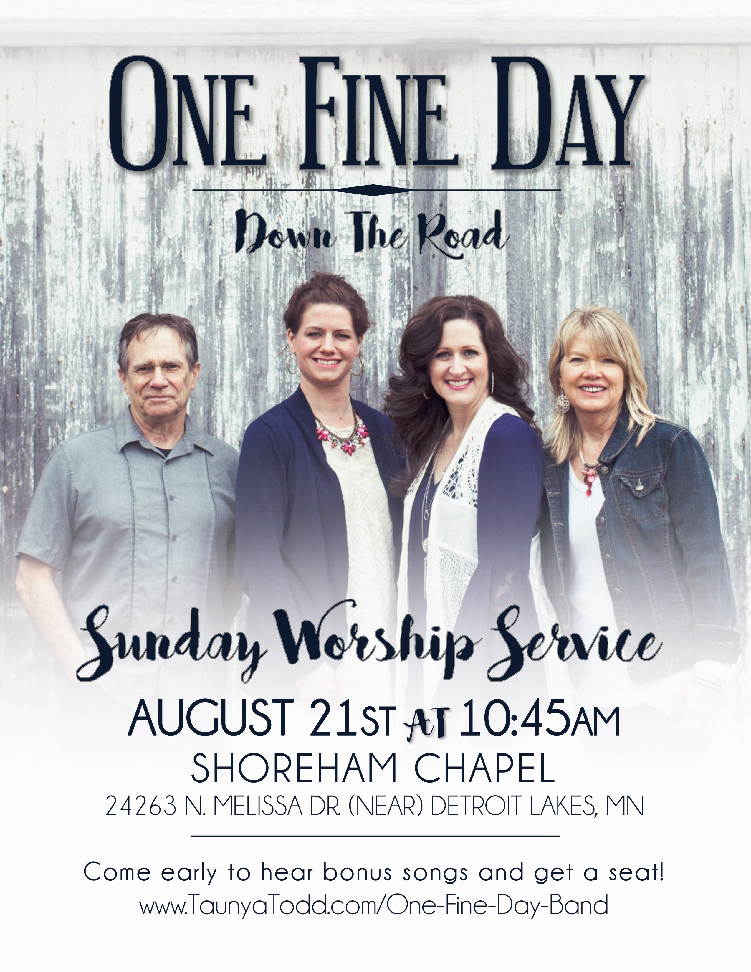 One Fine Day/Worship Service